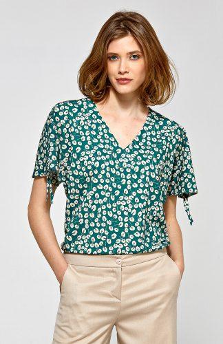 Elegancka bluzka we wzory z krótkim rękawem