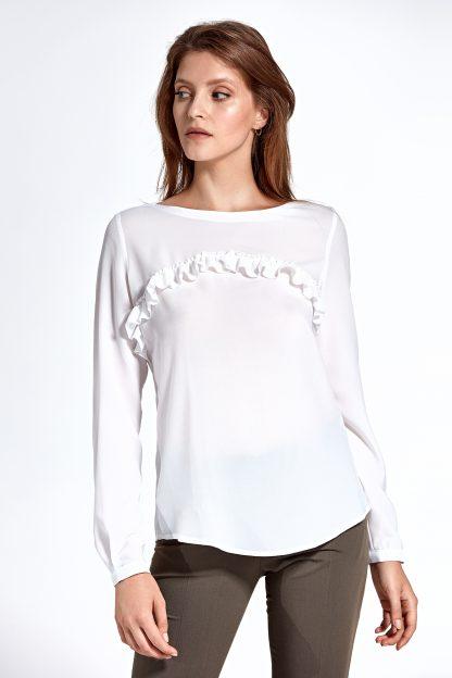 Elegancka bluzka z falbanką ecru
