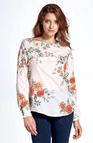 Bluzka z falbanką w kwiaty ecru