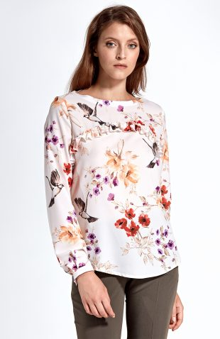 Bluzka z falbanką w kwiaty
