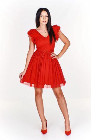 Sukienka wieczorowa rozkloszowana czerwona