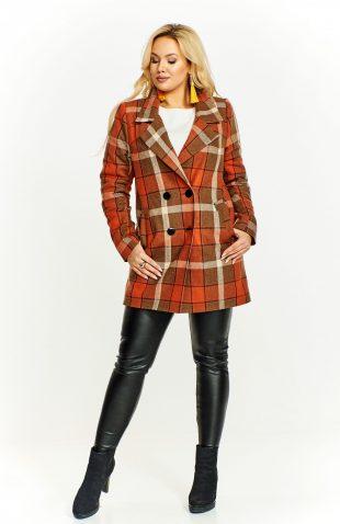 Klasyczny płaszcz damski w kratę z wełną