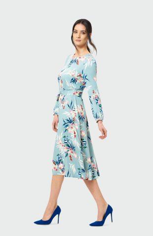 Sukienka rozkloszowana midi z paskiem