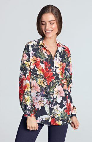 Koszula z długim rękawem w kwiaty