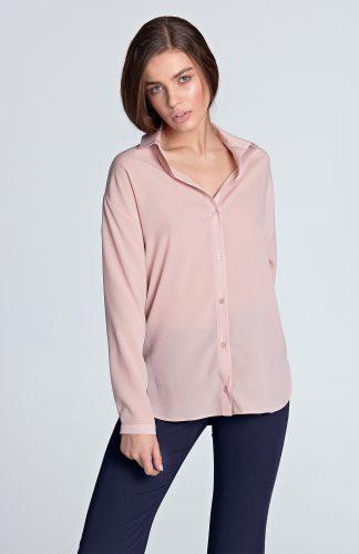 Koszula z długim rękawem różowa