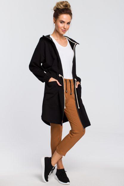 Bluza damska z kapturem rozpinana czarna