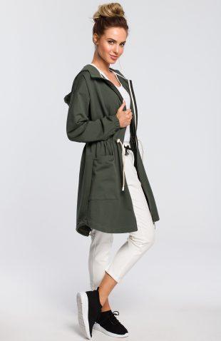 Bluza damska z kapturem rozpinana khaki