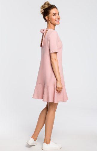 Sukienka z dekoltem na plecach różowa