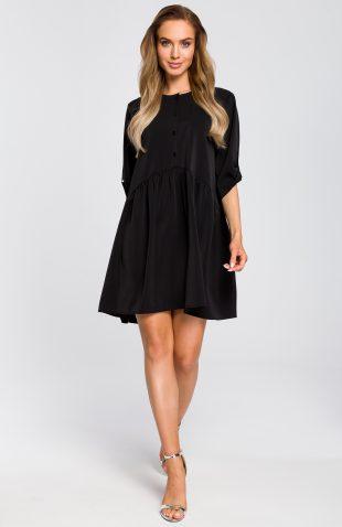 Sukienka odcinana w pasie wiosenna czarna