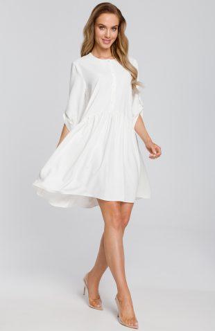 Sukienka odcinana w pasie wiosenna ecru