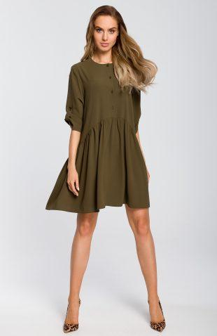 Sukienka odcinana w pasie wiosenna khaki