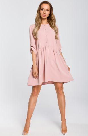 Sukienka odcinana w pasie wiosenna różowa
