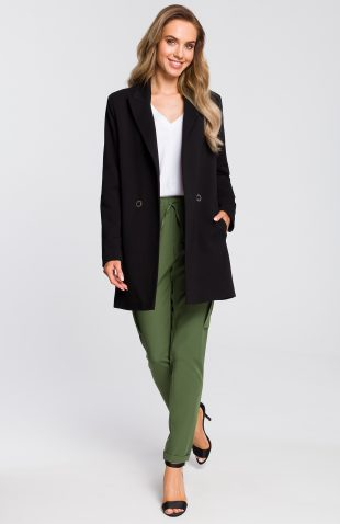 Żakiet damski długi bawełniany czarny