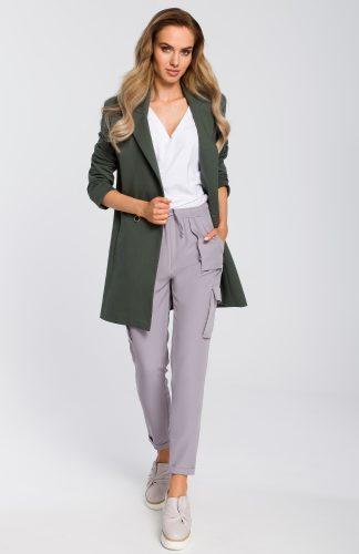 Żakiet damski długi bawełniany khaki