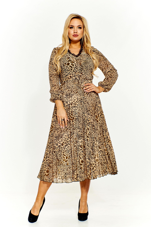 1b9a5eba4c Plisowana sukienka midi we wzory - szyta w Polsce - kurier od 5