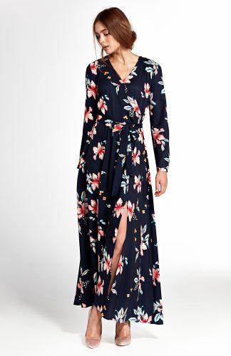 Sukienka kopertowa do kostek w kwiaty