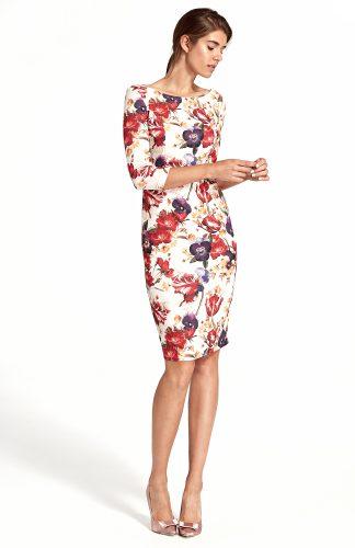 Sukienka ołówkowa w kwiaty