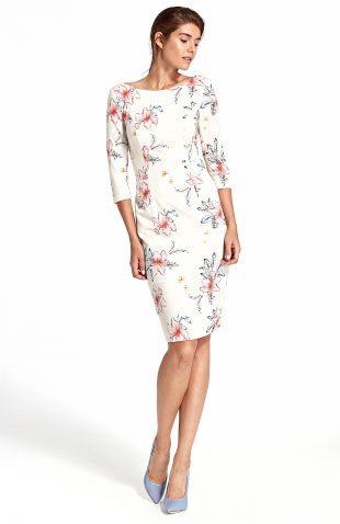 Sukienka ołówkowa w kwiaty ecru
