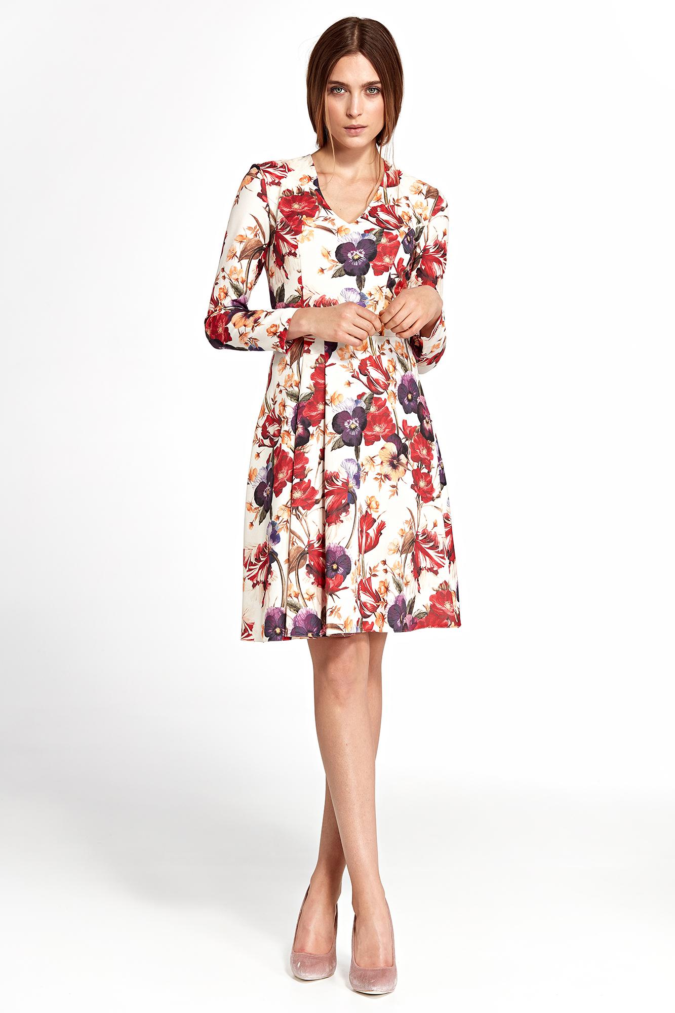 580ccd36418bd1 Sukienka rozkloszowana w kwiaty - szyta w Polsce - kurier od 5,99 zł