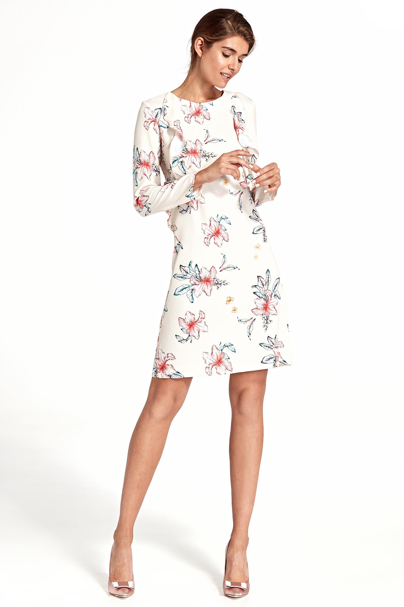 424f1d9c732bfd Sukienka trapezowa w kwiaty ecru - szyta w Polsce - kurier od 5,99 zł