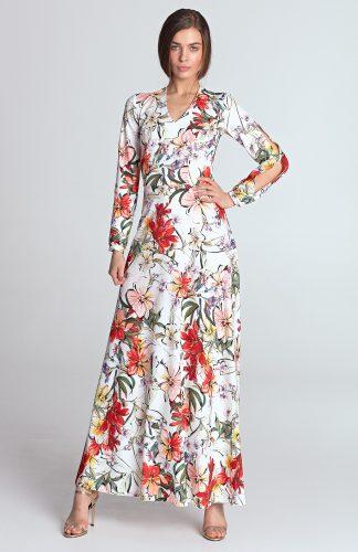 Sukienka do kostek w kwiaty ecru