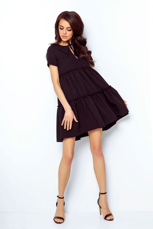 Sukienka z falbanami rozkloszowana czarna