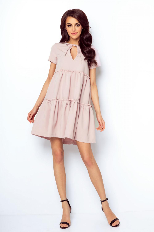 Sukienka z falbanami rozkloszowana różowa
