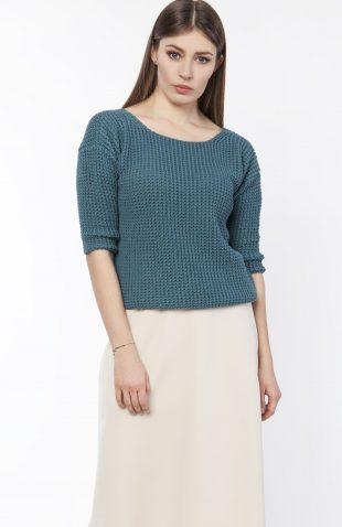Sweter z dekoltem łódka turkusowy