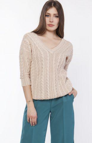 Sweter z dużym dekoltem beżowy