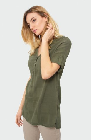 Bluzka koszulowa długa oliwkowa