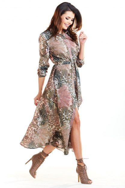 Długa sukienka w zwierzęce wzory