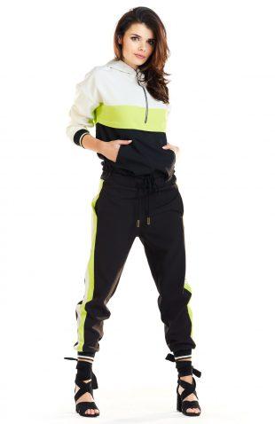 Bluza damska z kapturem czarna limonka