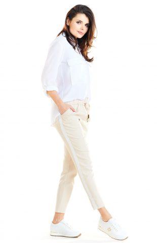 Spodnie z lampasami damskie beżowe
