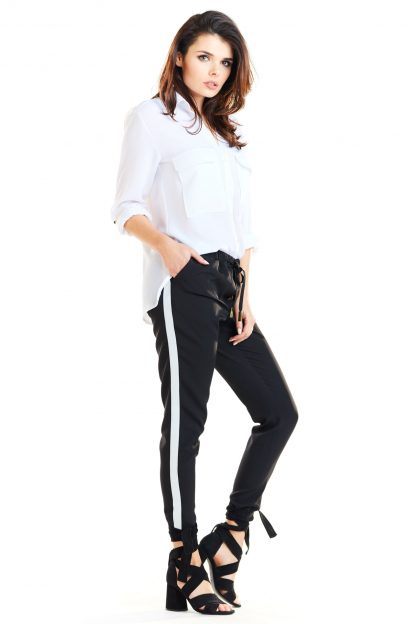 Spodnie z lampasami damskie czarne