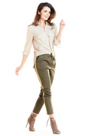 Spodnie z lampasami damskie khaki