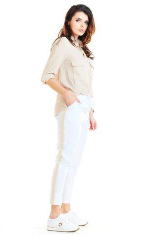 Spodnie z lampasami damskie białe