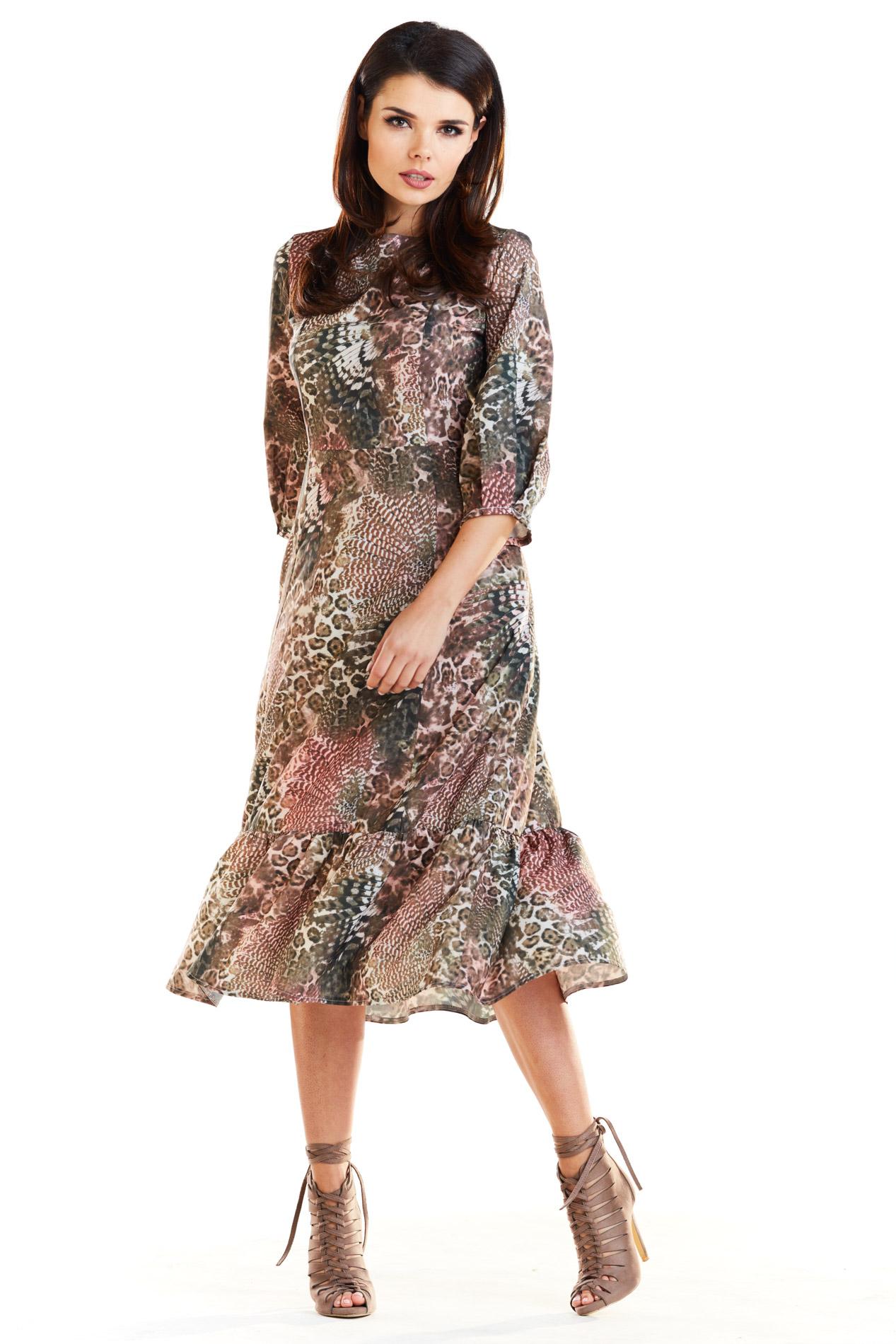 0170720f50 Sukienka midi w zwierzęce wzory - szyta w Polsce - kurier od 5