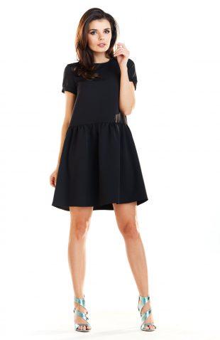 Sukienka mini z falbaną na dole czarna