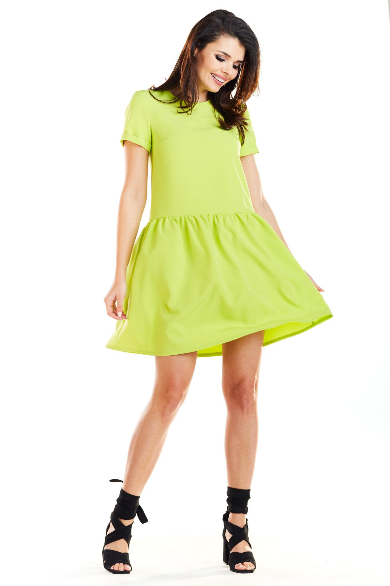 416af4ce8c Sukienka mini z falbaną na dole limonkowa - tania dostawa od 5
