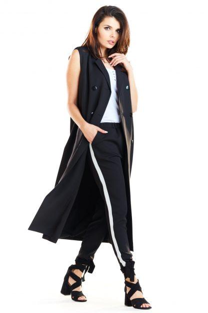 Kamizelka damska długa elegancka czarna