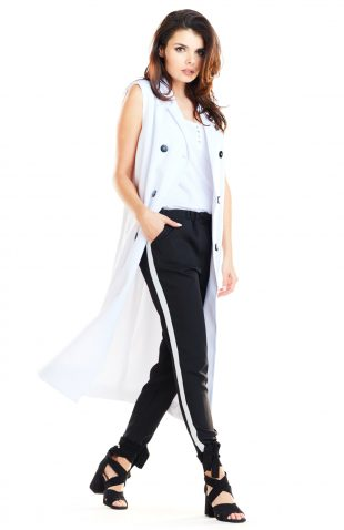 Kamizelka damska długa elegancka biała