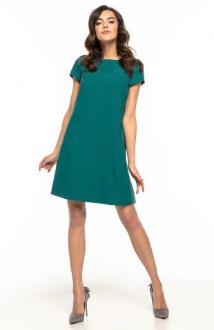 Sukienka trapezowa elegancka zielona