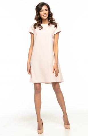 Sukienka trapezowa elegancka różowa