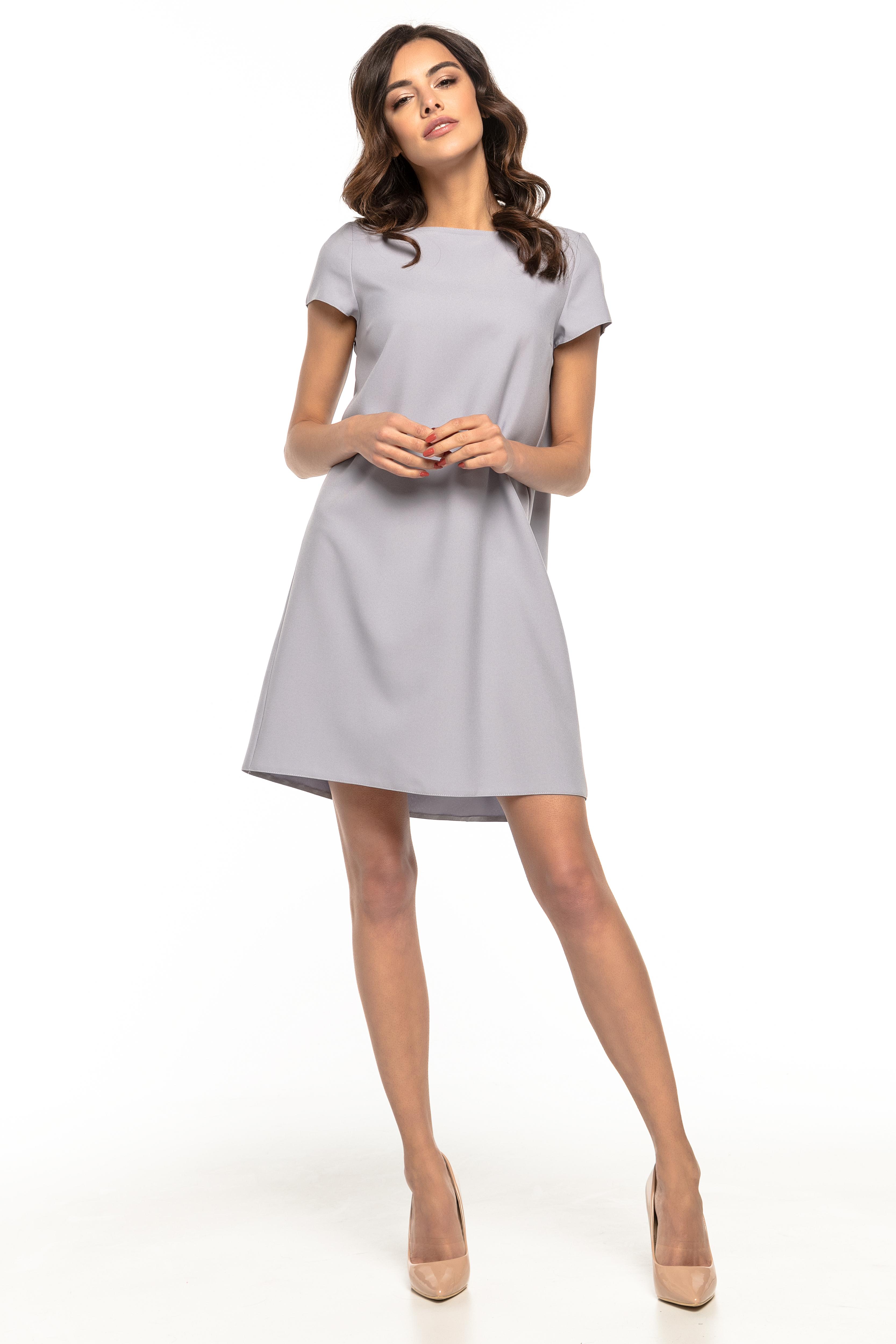 4610963707 Sukienka trapezowa elegancka szara - tania dostawa już od 5