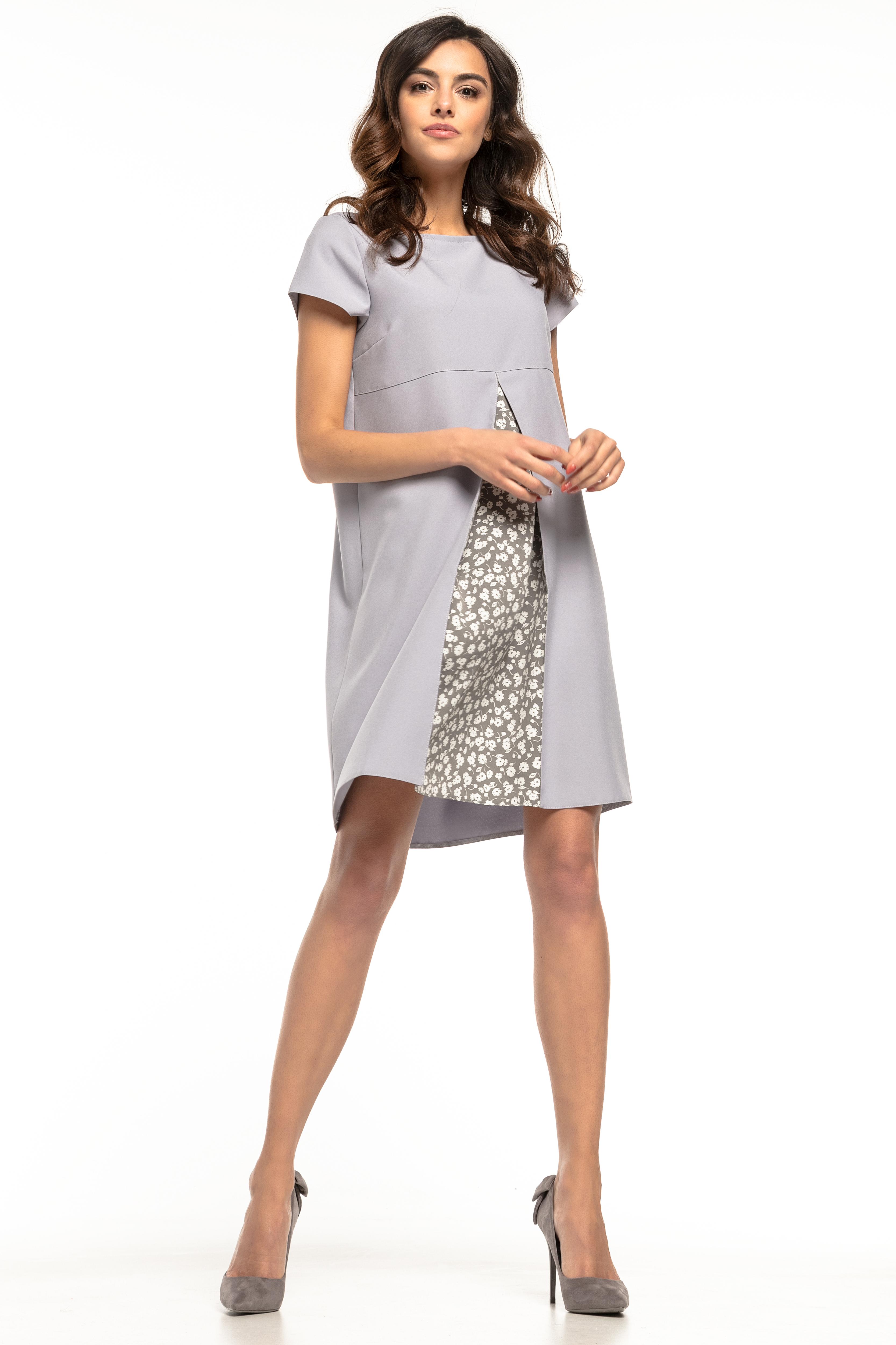 f7fe28286b7412 Sukienka trapezowa elegancka szara - tania dostawa już od 5,99 zł