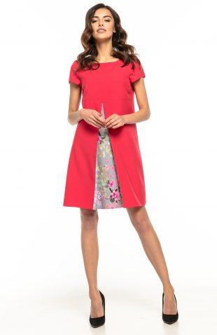 Sukienka trapezowa elegancka czerwona