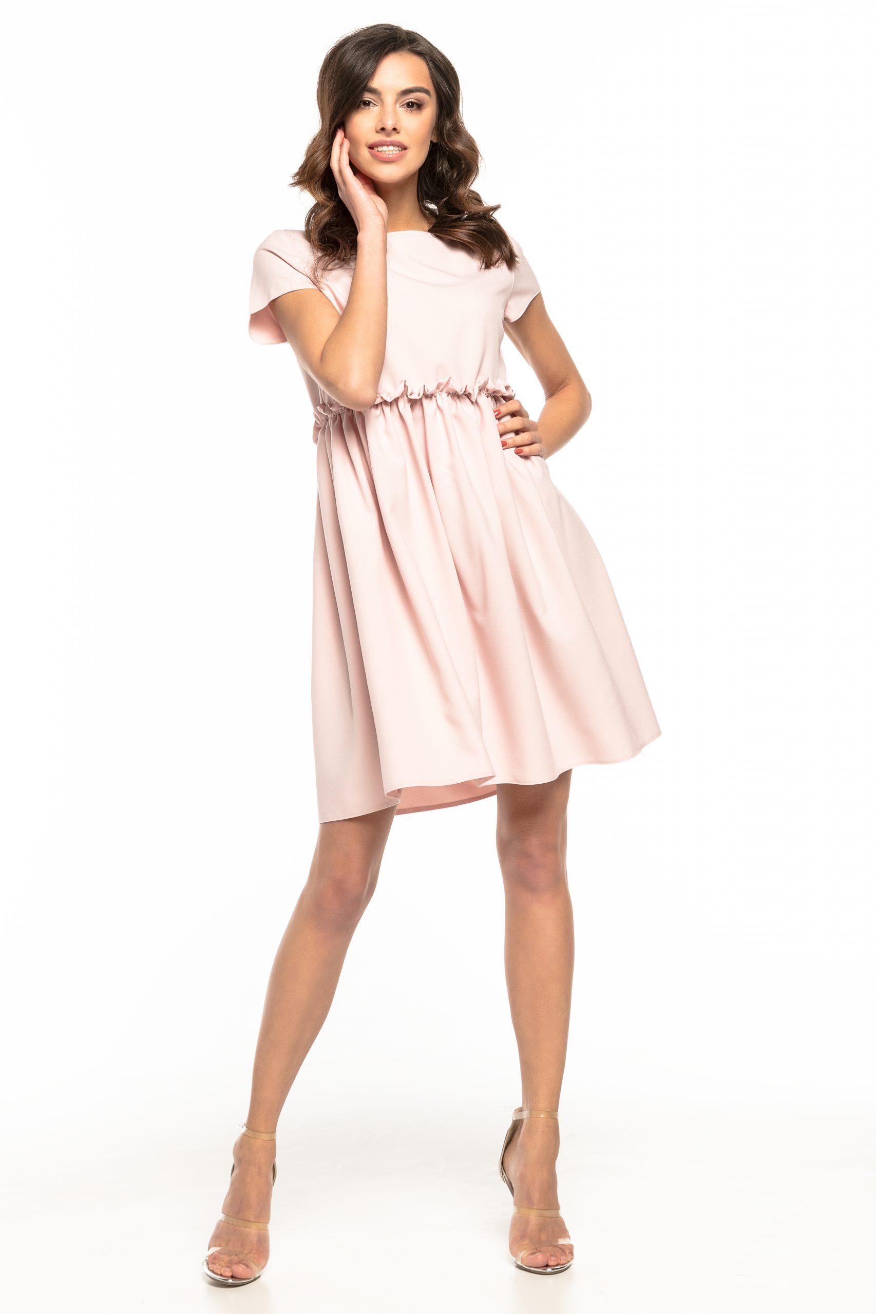 Sukienka odcięta pod biustem różowa