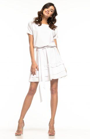 Sukienka rozkloszowana z falbanką biała