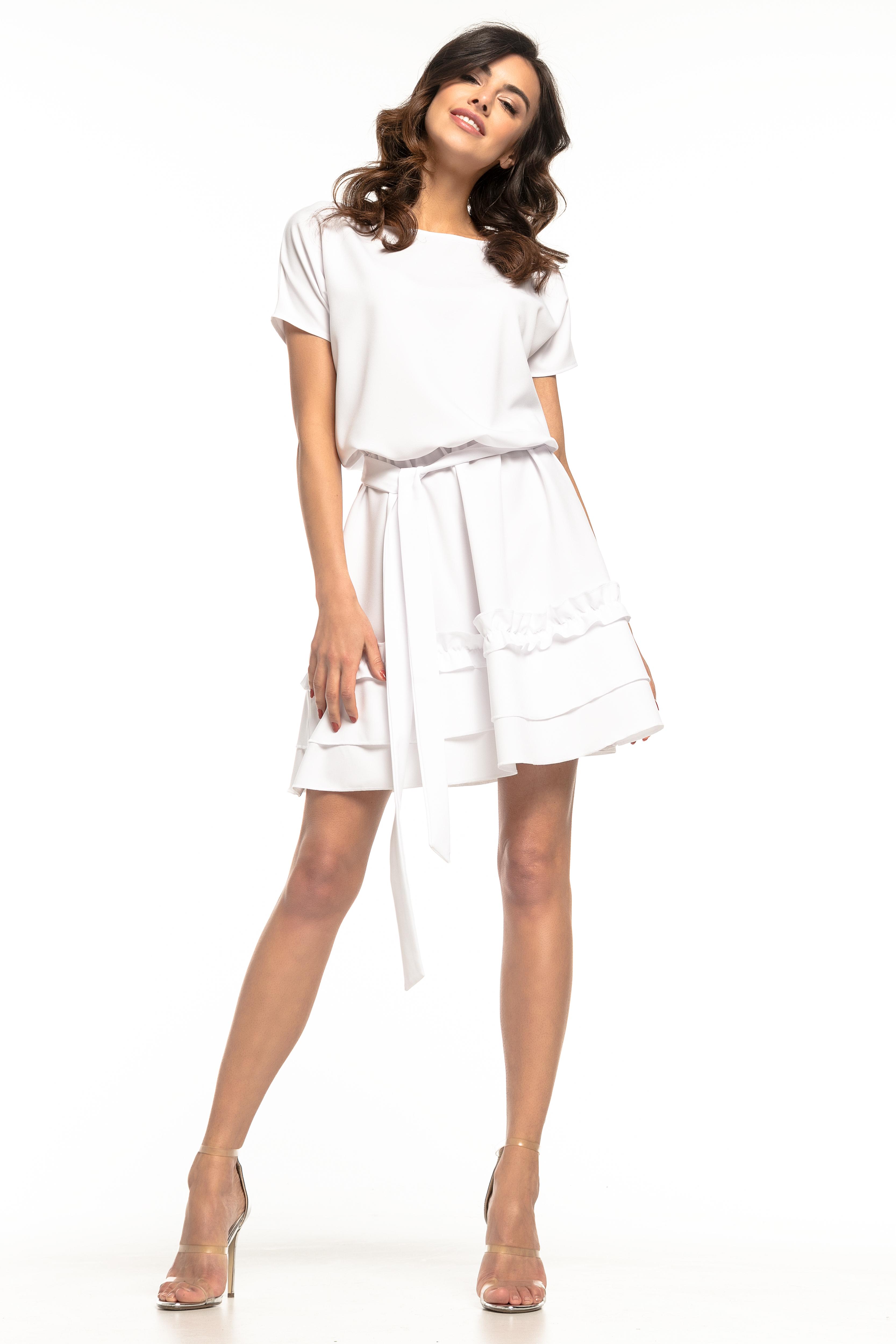 cfd7294815 Sukienka rozkloszowana z falbanką biała - tania dostawa od 5