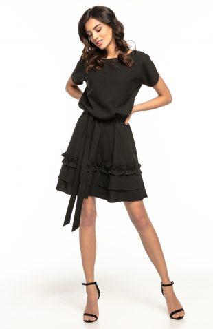 Sukienka rozkloszowana z falbanką czarna